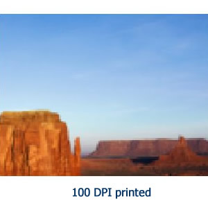 Image resolution 100 dpi printed