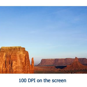 Image resolution 100 dpi on screen